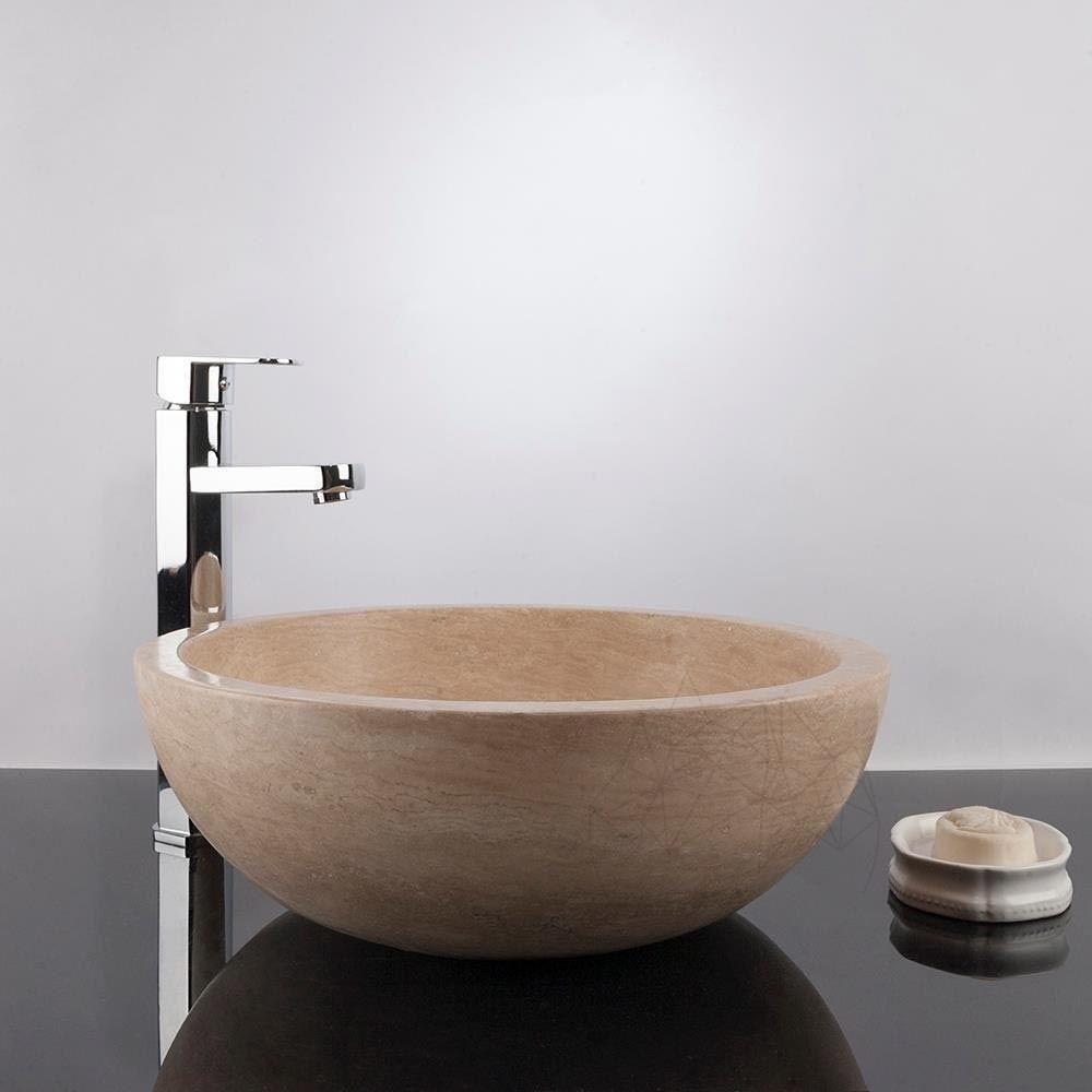 Chiuveta rotunda baie realixzata din travertin Classic RS 5, 42 x