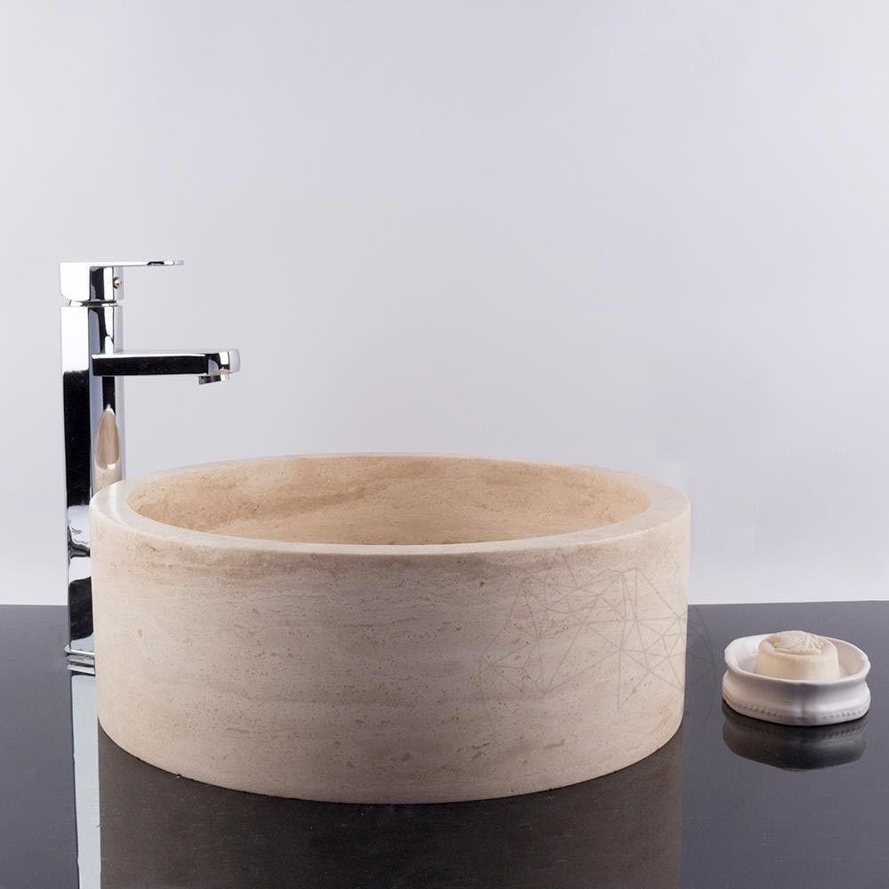 Chiuveta baie travertin Classic RS 22, 42 cm x 15 cm   PIATRAONLINE