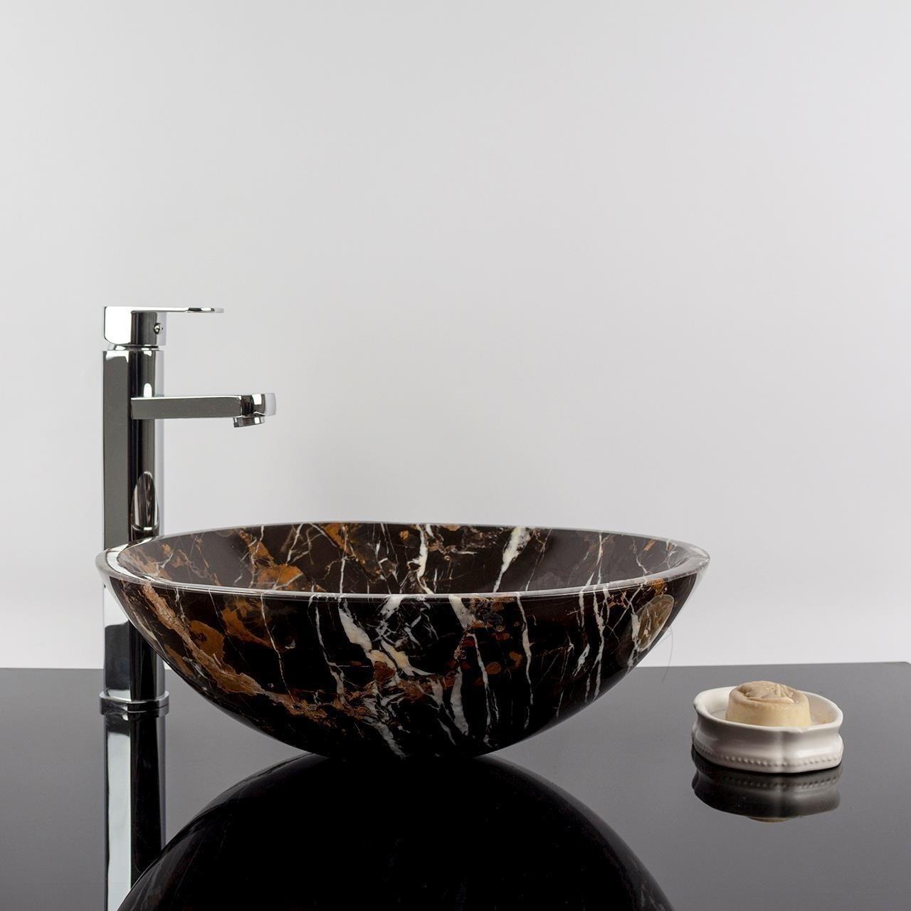 Chiuveta baie marmura Portoro Gold 42 x 14 cm
