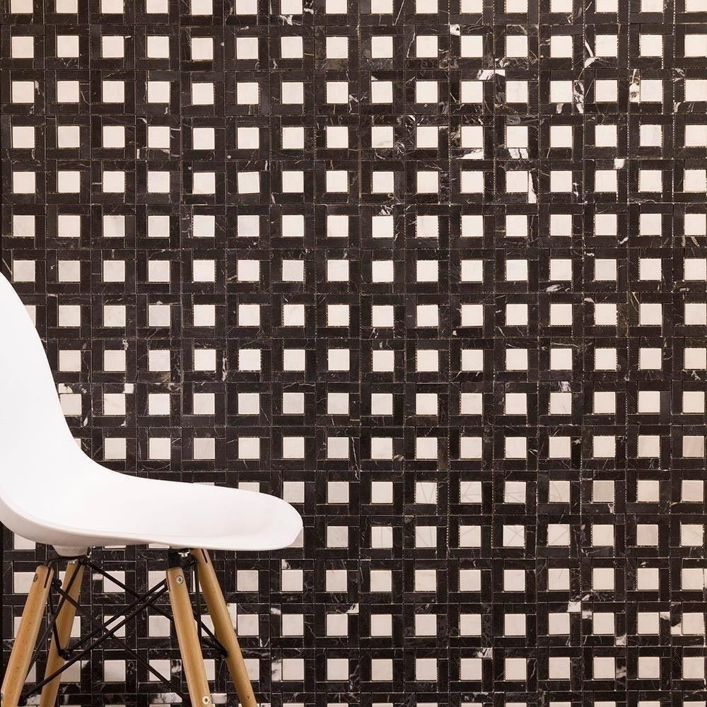Mozaic Marmura Nero Marquina / Alba Polisata 7.2 X 7.2cm Msm2