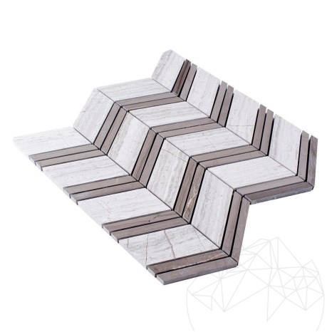 Mozaic Marmura Chevron Athena Grey si White Wood