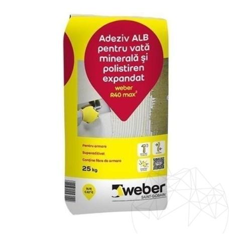 Adeziv alb pentru vata minerala si polistiren expandat - Weber R40 max²