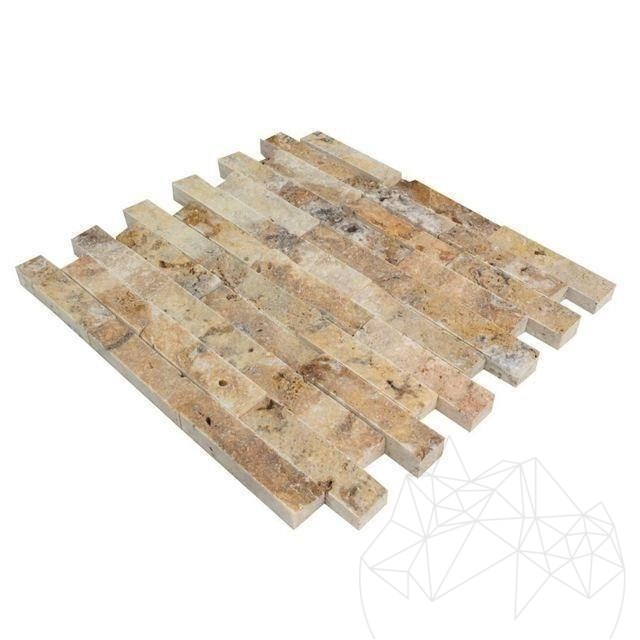Mozaic Travertin Scabas Scapitat 2.5 X 10 Cm - Lichidare Stoc