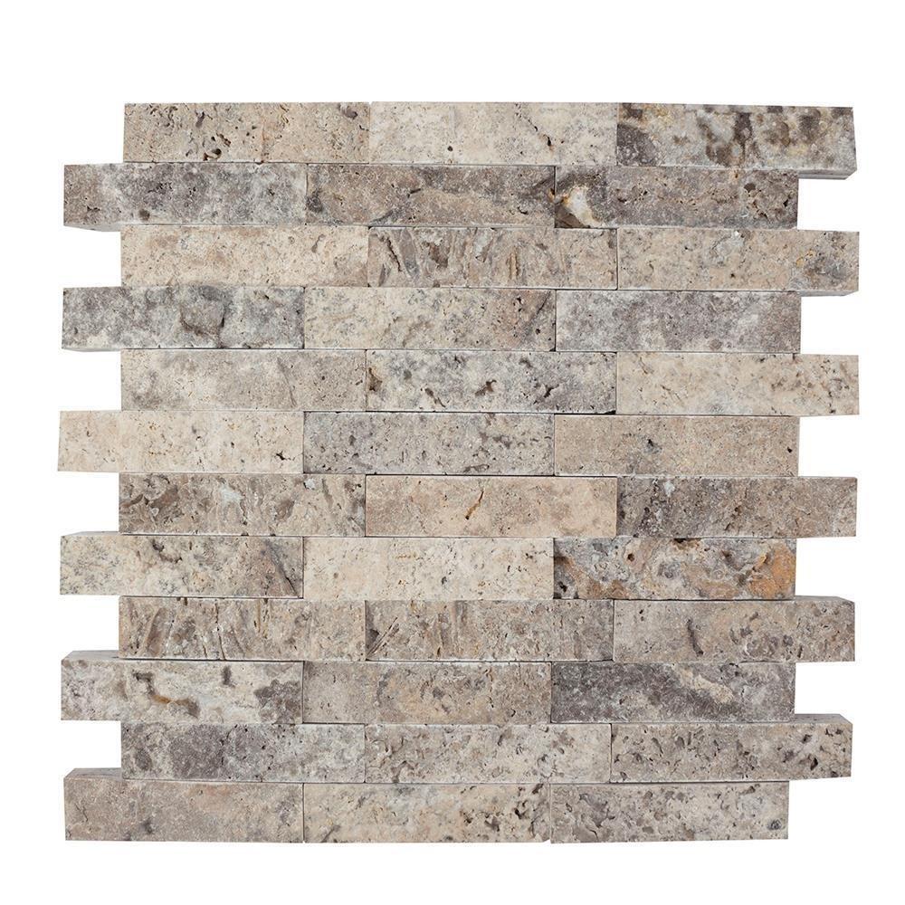Mozaic Travertin Silver Scapitat 2.5 X 10 Cm