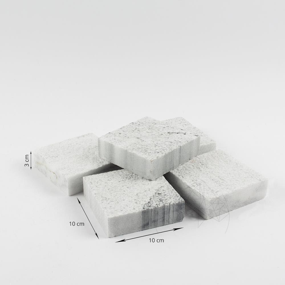 Piatra Cubica Marmura Kavala Buceardata 10 X 10 X 3cm